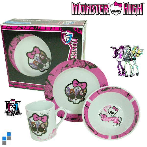 Porcelain<br> Breakfast Set<br> 3-piece  Monster ...