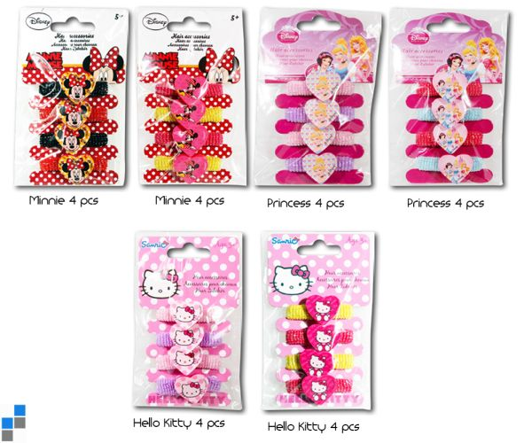 Hair tie 4-piece 6<br>assorted Disney