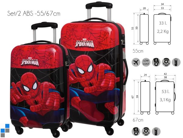 Reisekoffer<br> Trolley Set<br> 2-teilig Spiderman ...