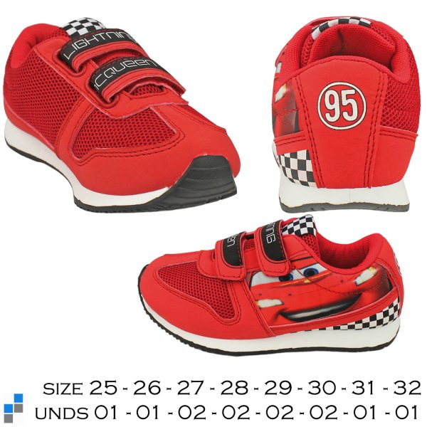 Sports shoes size<br> 25-32 sorted<br>Disney Cars