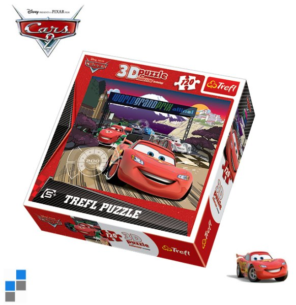 3D Puzzle<br> 120-teilig 25x20cm<br>Cars in Verpackung