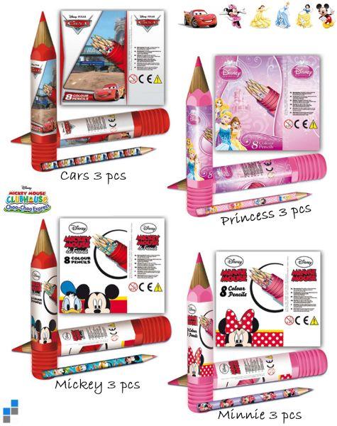 8 crayons de couleur dans le tube 4 assortis Disne