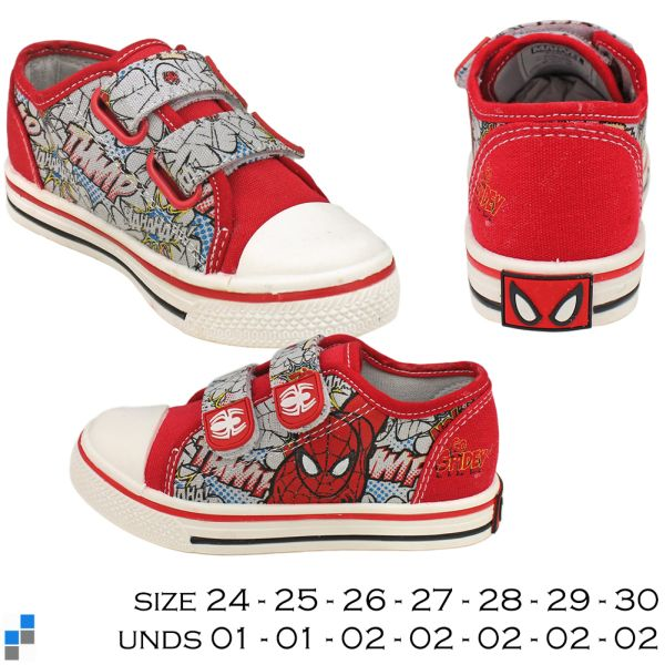 Canvas shoes size<br> 24-30 sorted<br>Spiderman