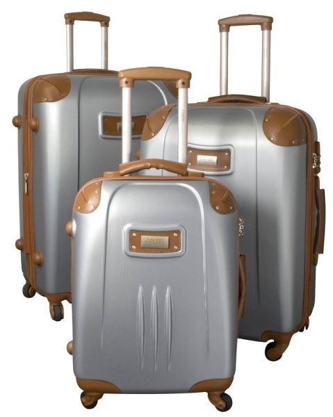 Set of 3 wheeled<br> suitcases ABS<br> First Class  gri