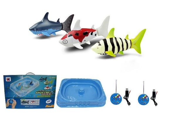 Radio controlled shark 10cm basin with colors asso