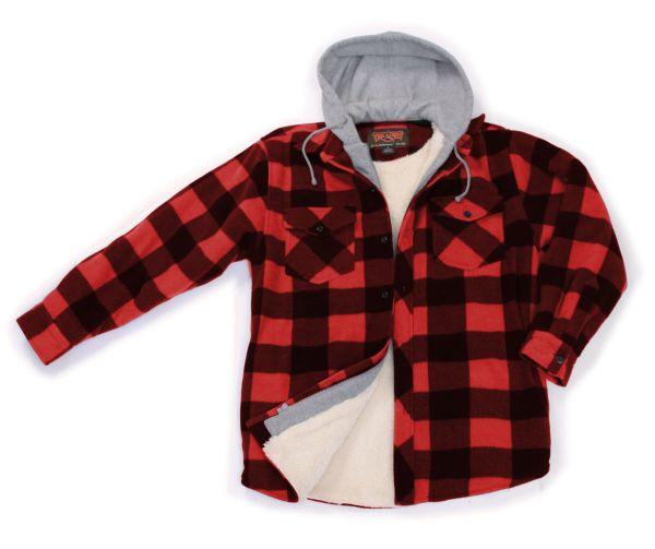 -Kapuzen<br> Fleecejacke<br>Lumberjack, rot
