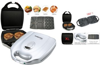 4 IN 1 GRILL XL: SANDWICH GRILL-WAFFLE-DONUTS