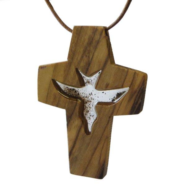 Halskette Kreuz Olivenholz aus Bethlehem mit Erde