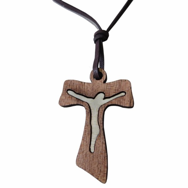 Necklace leather<br>with wooden cross