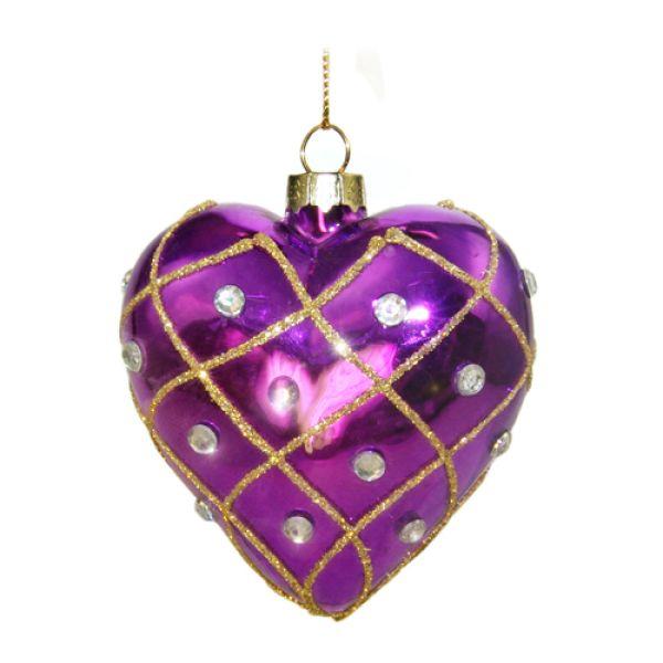 Weihnachtskugel aus Glas Herz Violett 8 cm