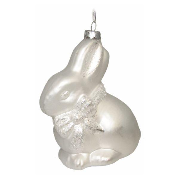 Weihnachtskugel Hase aus Glas
