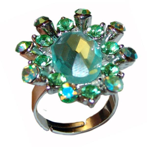 Strass Ring grün mit Kristall