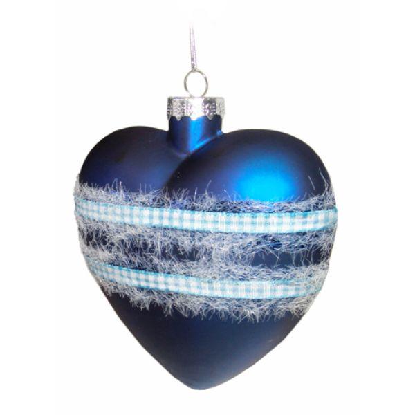 Weihnachtskugeln aus Glas Herz blau 10 cm