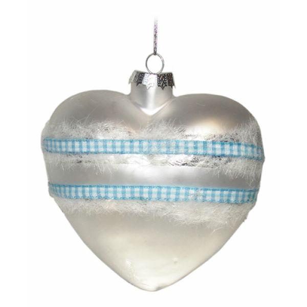 Weihnachtskugeln aus Glas Herz silber 10 cm