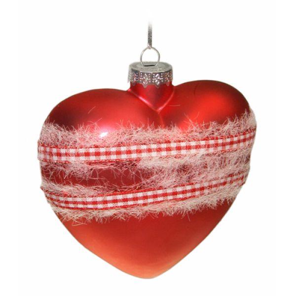 Weihnachtskugeln aus Glas Herz rot 10 cm