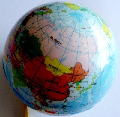 Gummiball mit der<br>Weltkarte
