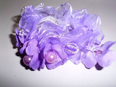 Haarzopfband<br> together in purple<br>beads