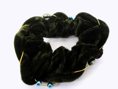 Haarzopfband dark<br>green velvet in