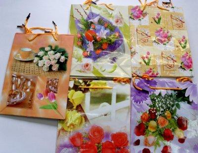 Geschenktüten Blumen Motiven 25x19cm