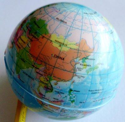 Gummiball mit der<br>Weltkarte klein