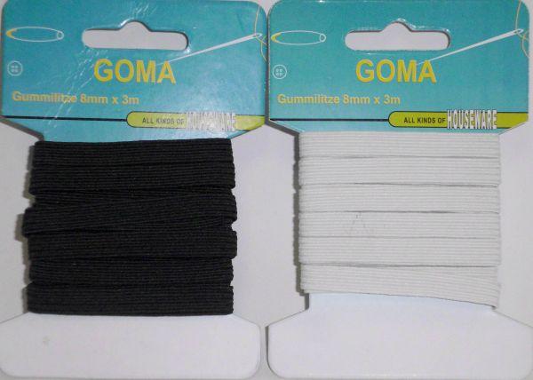 Gummilitze 8mm x 3m, schwarz/weiss