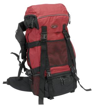 Trekking backpack, black / red, approx 34x68x22cm
