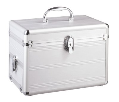 Vanity case with<br> jewelry box,<br>silver, approx