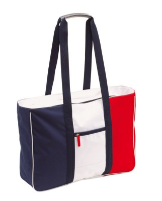 Beach bag, blue,<br> red, white, approx<br>47 x 3