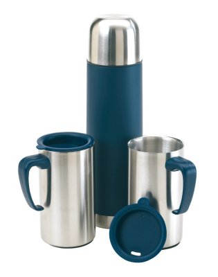 Stainless steel<br> vacuum flask and 2<br>Isolierbech