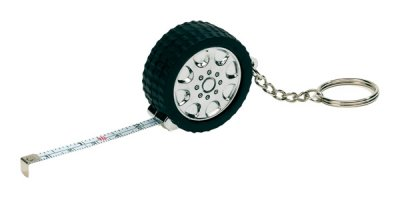 Measuring tape in<br> rubber tire<br>appearance, 1m, silv