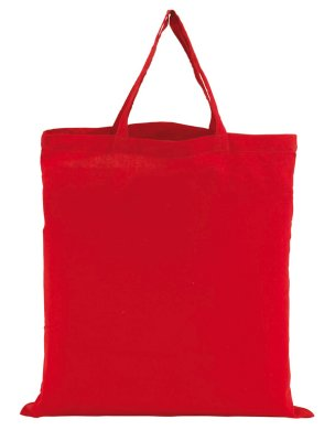 Cotton bag with 2<br> short handles,<br>red, 3