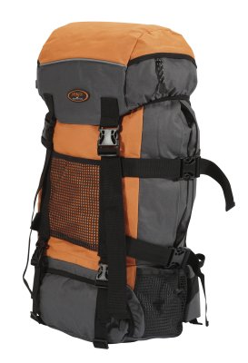 Trekking backpack, orange / gray, approx 34x68x22c