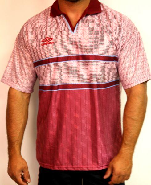 Umbro Sportshirt Freizeitshirt Poloshirt Rot/ Weiß