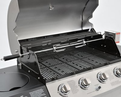 Rotisserie for gas<br> grill with<br>rotisserie spit moto