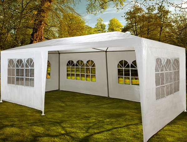 Big party tent<br>with side walls.