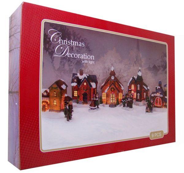 Weihnachtsdorf mit Licht (9 Stück)