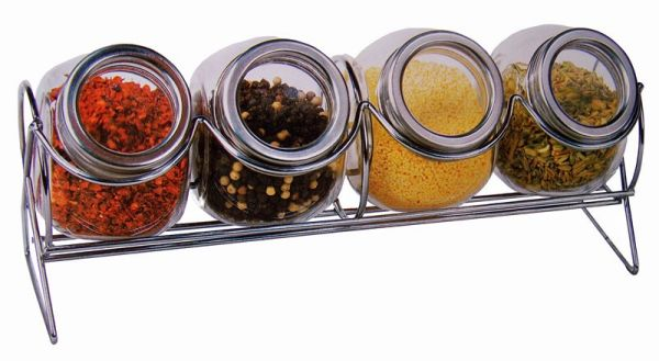 Rack with 4 spice jars