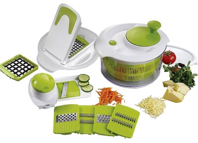 Salad spinner with<br>accessories