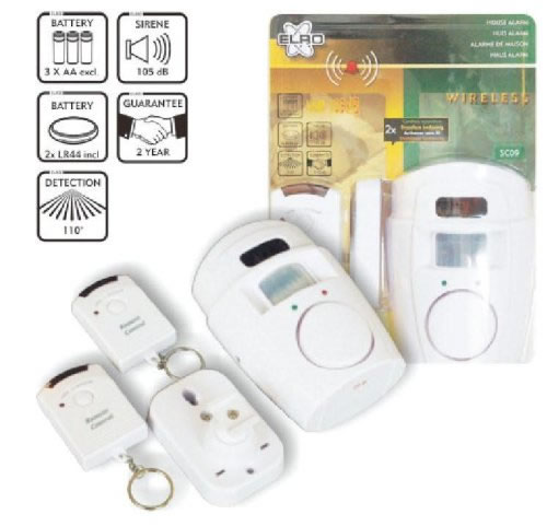 Home alarm with<br> motion detectors<br>and remote 2x