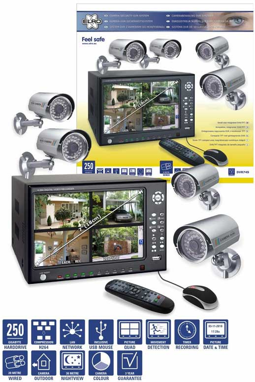 ELRO DVR74S<br> Security System<br> with 4 Outdoor ...