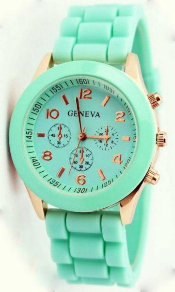 Geneva Watch Jelly<br> horloge Mint 7<br>kleuren