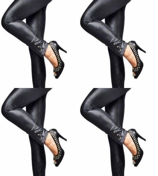 Latex Leggings<br>Frauen mit Nieten