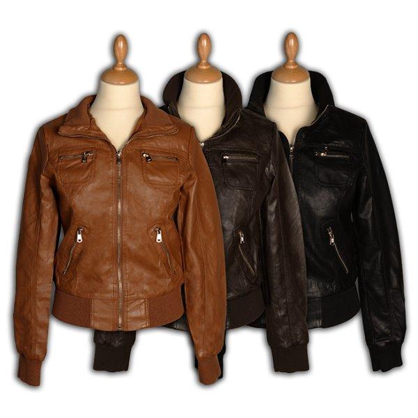 Kobiety faux<br> kurtki skórzane -<br>Odzież damska