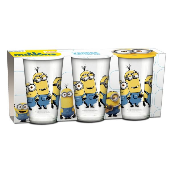 Set of 3 Glasses Minions