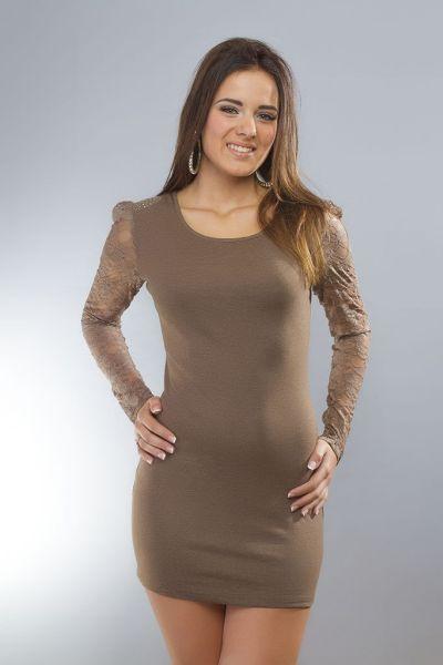 Kleid / Longshirt<br>Langarm braun