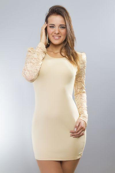 Kleid / lang Hemd<br> mit langen Ärmeln<br>beige