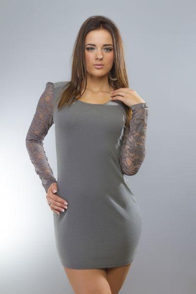 Kleid / lang Hemd<br> mit langen Ärmeln<br>grau