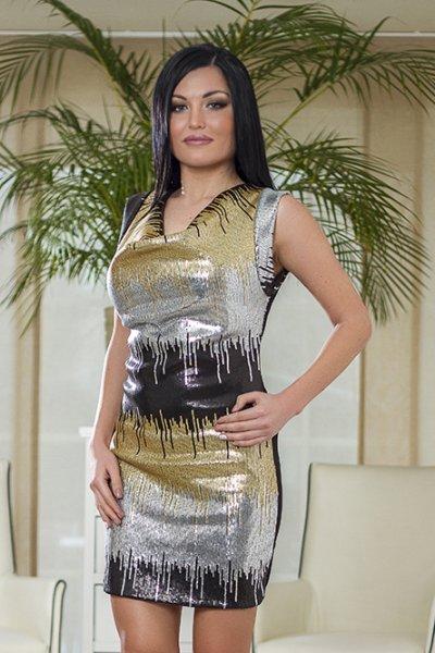 glamourösen<br>Pailletten-Kleid