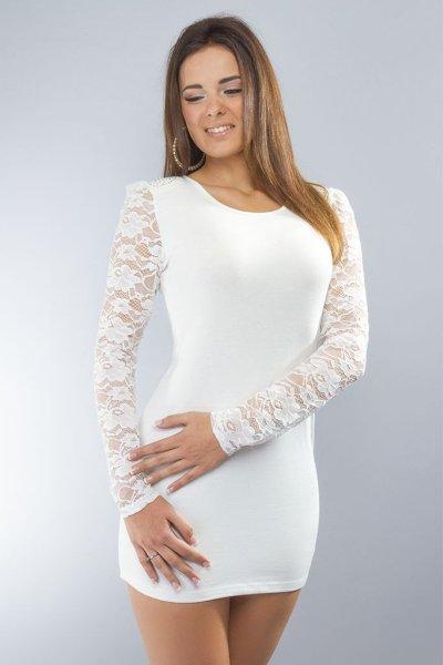 Kleid / lang Hemd<br>langärmliges weißes