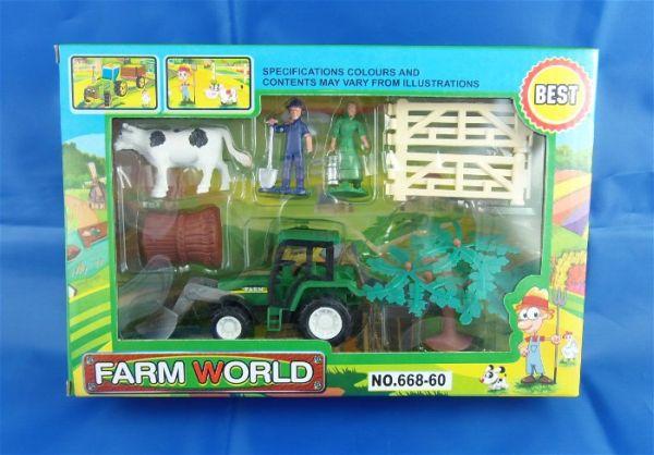 Bauernhof-Set, 8-teilig, Traktor und Figuren